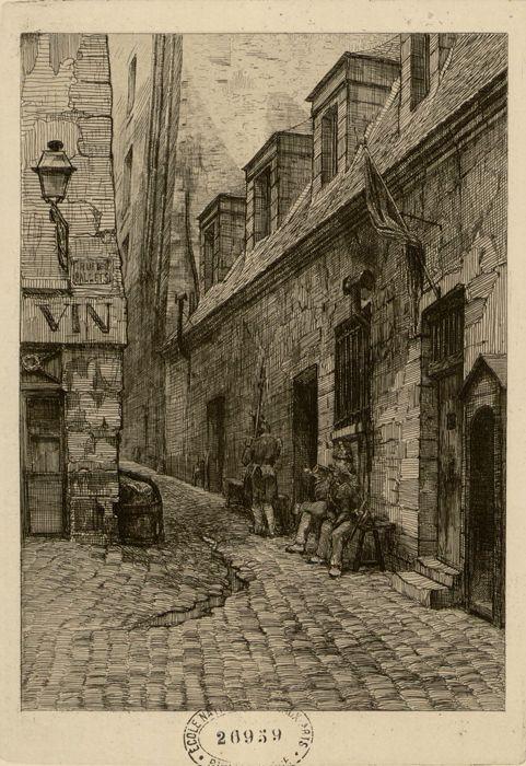 Rue du roi de Sicile. La Grande Force et la borne sur laquelle fut décapitée la princesse de Lamballe | dessin de m.r Potémont père greffier de la Force en 1823