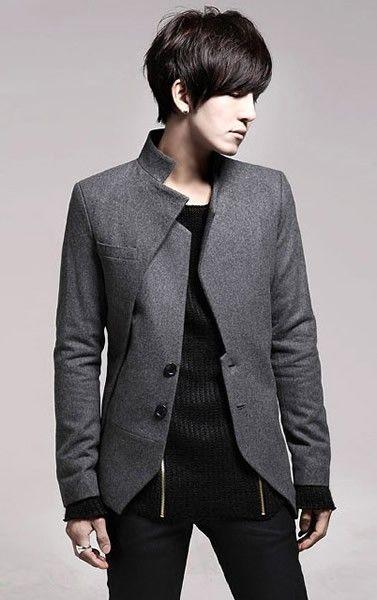 Stand Collar Long Sleeve Men Fashion Grey Casual Wool Suit M/L/XL/XXL @X170702g
