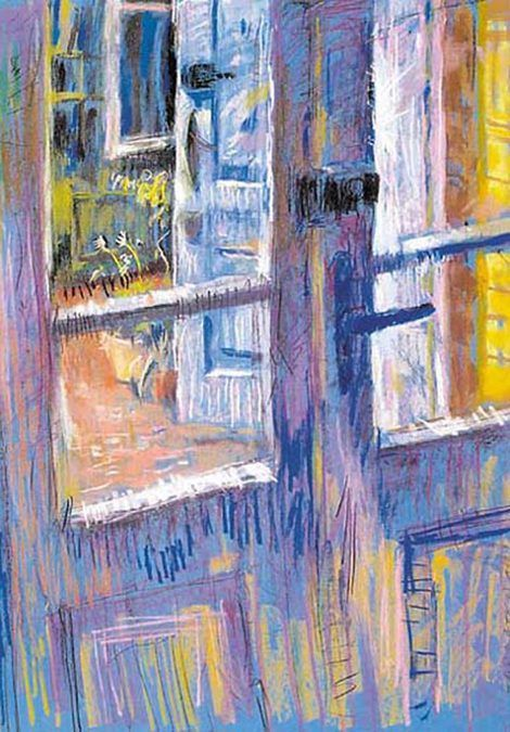 Edward Umiński, Błękitne dzwi | sucha pastel