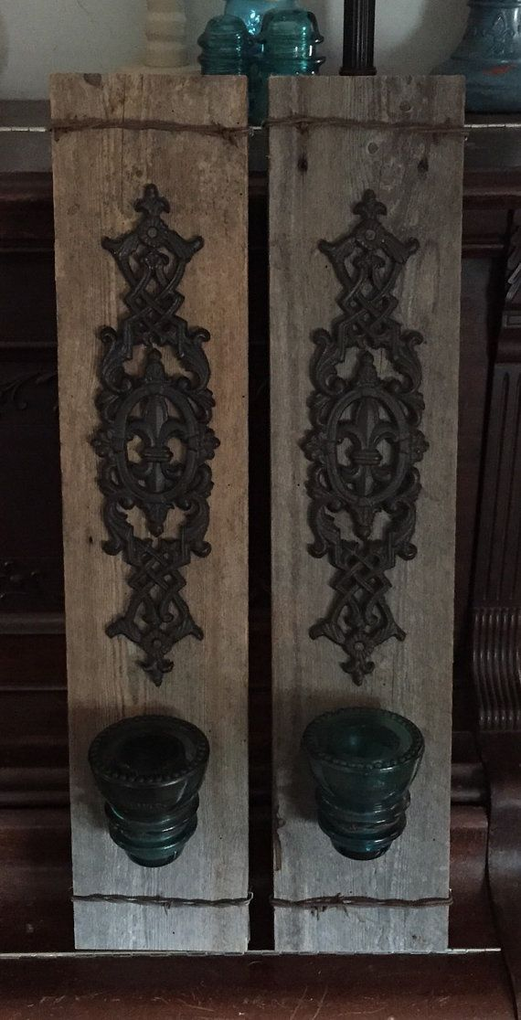 Barnwood and barbwire wall sconces made with vintage blue glass electrical insulator $65 (AUS)