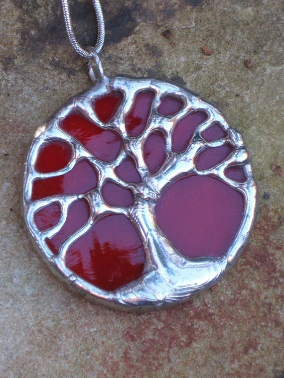 Round red/orange stained glass and silver oak tree necklace