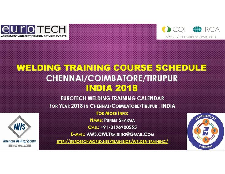 Welding training course calendar for year 2018