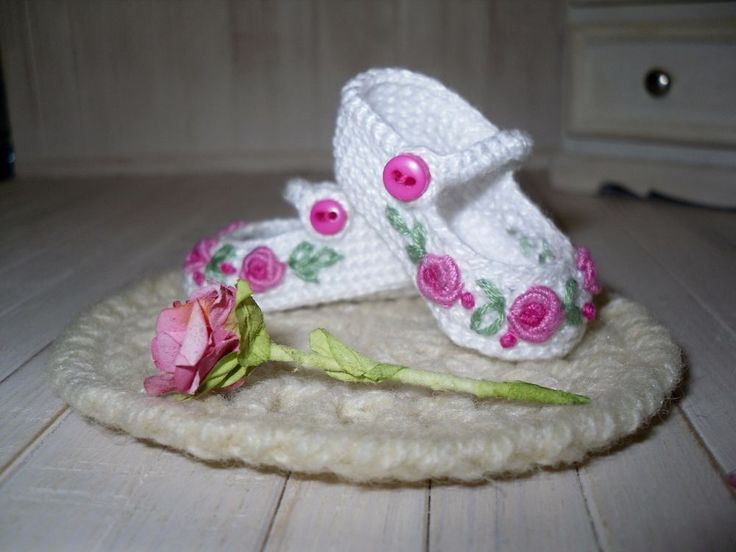 Dianna Effner Little Darling  crochet shoes embroidered with rose  | eBay