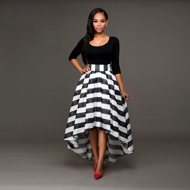 Two Piece Asymmetrical Black and White Striped Dress
