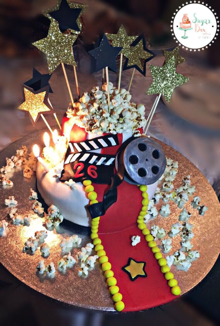 Movie Cinema Popcorn Red Carpet Birthday Cake