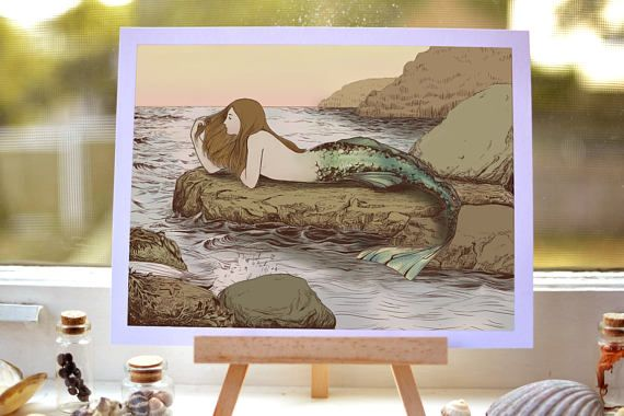 The Mermaid's Rock  drawing art print  pen and ink illustration