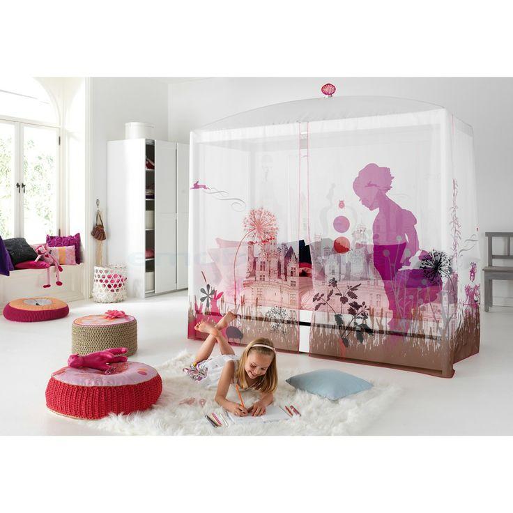 lit baldaquin verni blanc avec rideau wonderland. Black Bedroom Furniture Sets. Home Design Ideas