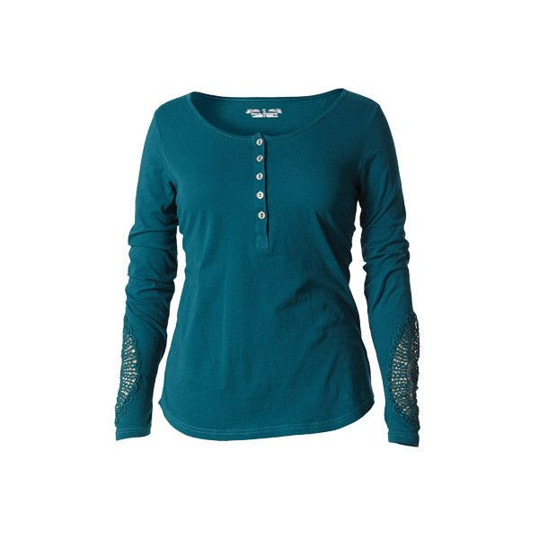 Women's Royal Robbins Abbey Long Sleeve Henley ($60) ❤ liked on Polyvore featuring tops, long sleeve shirts, teal, shirt top, blue top, long-sleeve henley shirts and scoop neck shirt