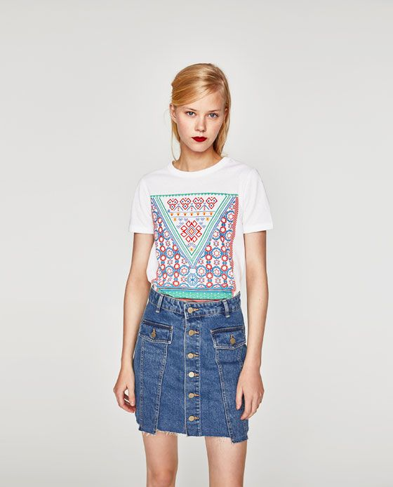 ZARA - TRF - STRIPED T-SHIRT WITH PATCHES