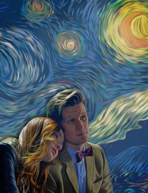 Starry Night. Amy Pond with her head on the shoulder of The Doctor. Doctor Who. Eleven. Painting from ArtLoveLight