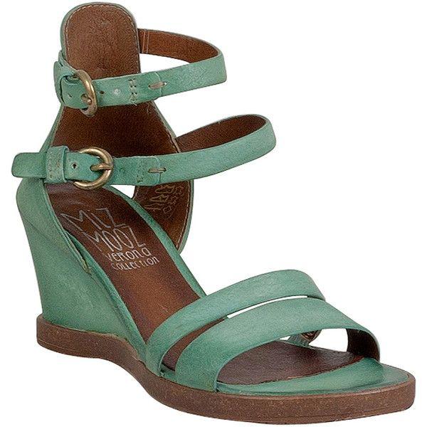 Miz Mooz Bibi Women's Wedge Sandal F Wedge Sandal ($97) ❤ liked on Polyvore featuring shoes, sandals, mint, wedge shoes, wedge heel shoes, mint sandals, miz mooz sandals and mint wedge sandals