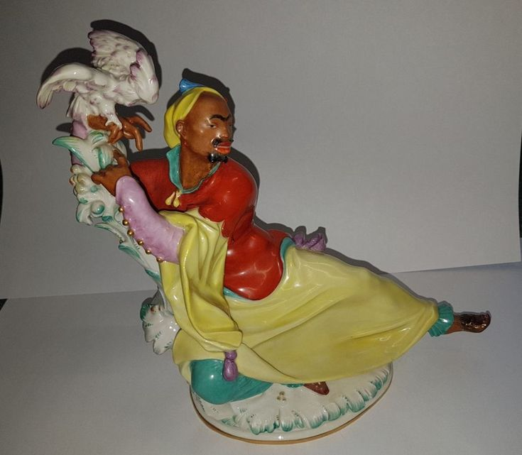 Meissner Porzellan Figur - Mohr mit Kakadu von Paul Scheurich - Jugendstil