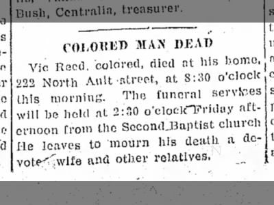 Family Connections ~ Vic Reed death announcement on Aug 27, 1915 on page 1