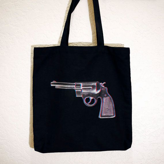 Red White and Blue Revolver tote bag by HoneysDead on Etsy, $17.00