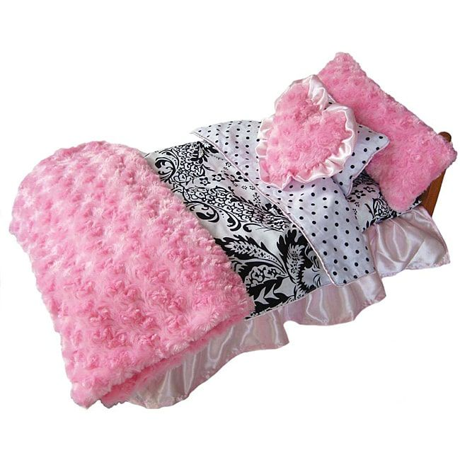 Ann Loren 7-piece Damask Bedding Set for American Girl Dolls