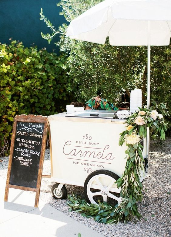 wedding party with a ice cream cart / http://www.deerpearlflowers.com/ingenious-ideas-for-an-outdoor-wedding/