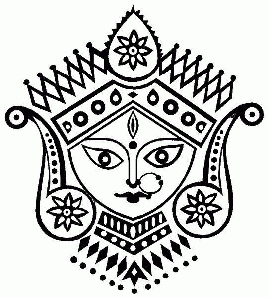 Drawings : Pencil Drawings of Goddess Durga & Ganesha-durga2.gif