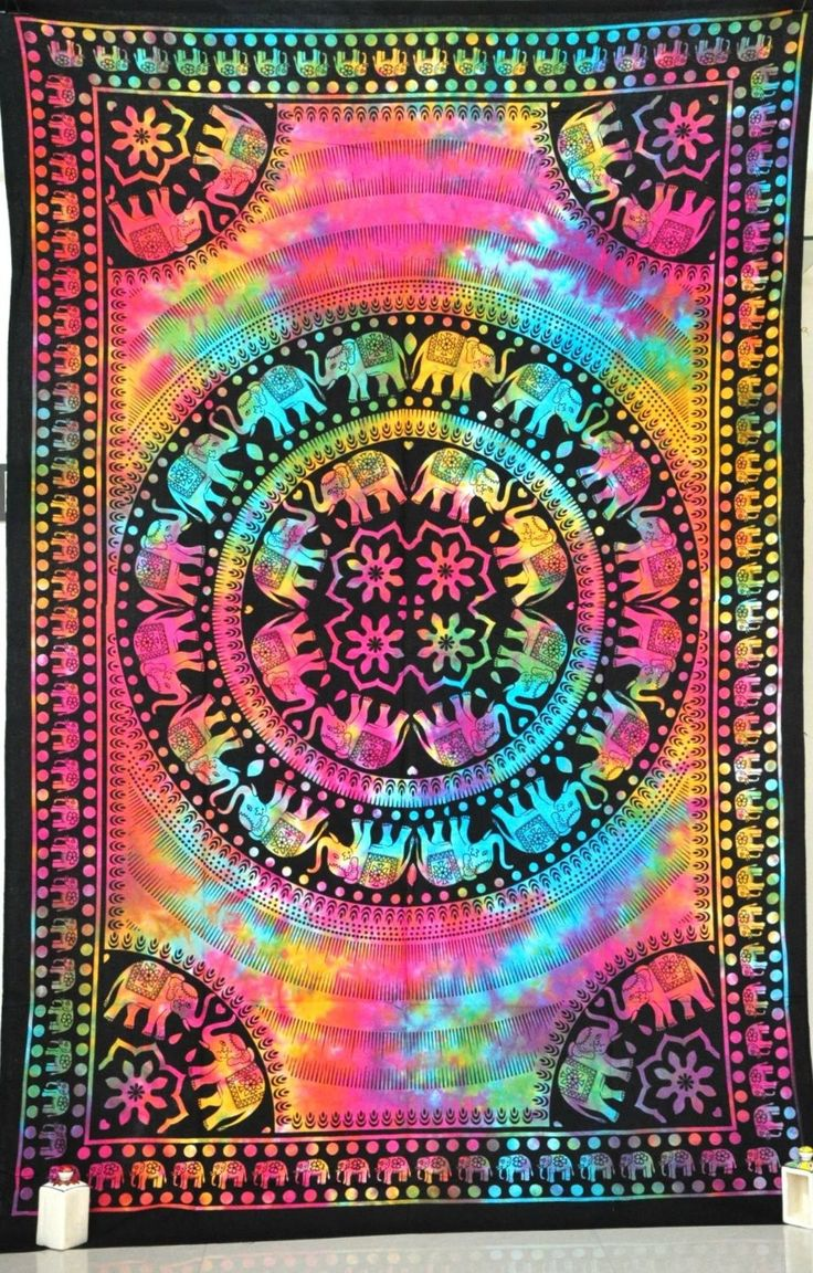 Tie Dye Psychedelic Elephant Mandala Bohemian Tapestry, Hippy Mandala Bed Cover, Indian Dorm Decor, Boho Tapestry Wall Hanging Decor - Free Shipping