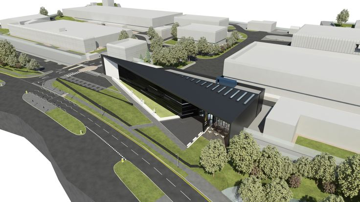An aerial view, artist's impression of The Royal Mint Visitor Centre, planned to open in 2015.  http://www.royalmint.com/pre-register/the-royal-mint-visitor-centre