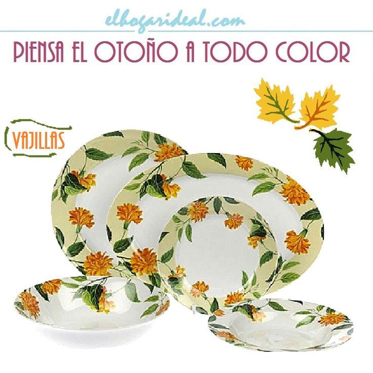 Exquisita vajilla de porcelana con flores naranjas sobre hojas verdes. Encuentra tus piezas más ideales entre nuestras novedades de otoño. http://elhogarideal.com/es/44-al-color-de-una-mesa
