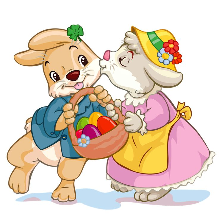 Easter Bunnies With Egg Basket PNG Clipart