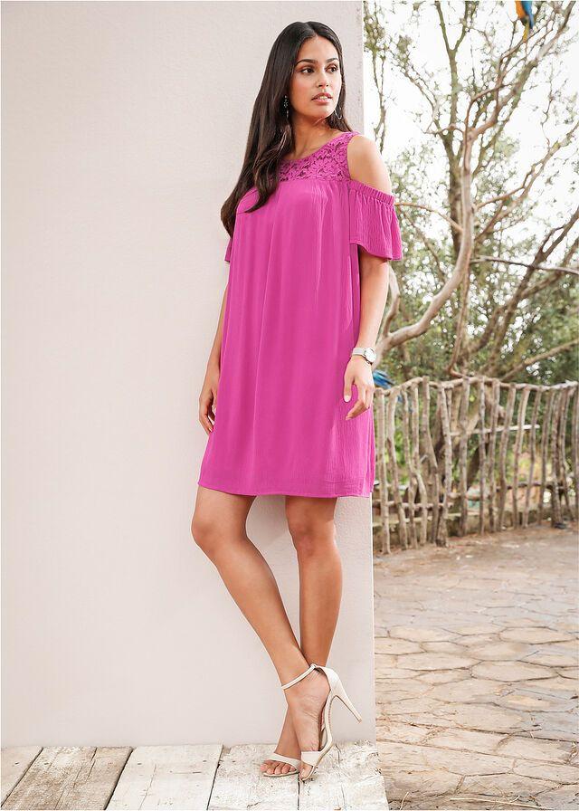 Sukienka Z Koronka I Wycieciami Na Ramionach Must Have Rozowy Bonprix Sklep Fashion Cold Shoulder Dress Dresses