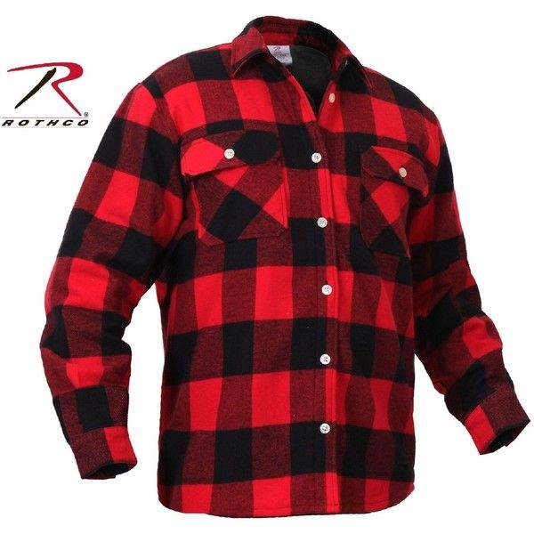 Mens Fleece-Lined Plaid Flannel Shirt Rothco Red Black Cotton... ❤ liked on Polyvore featuring men's fashion, men's clothing, men's shirts, men's casual shirts, mens button front shirts, mens red flannel shirt, mens red shirt, mens red plaid shirt and mens plaid flannel shirts