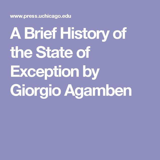 A Brief History of the State of Exception by Giorgio Agamben