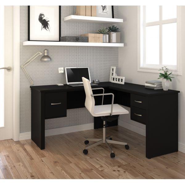 Bestar Somerville L Shaped Desk In Black Office Desk Decor