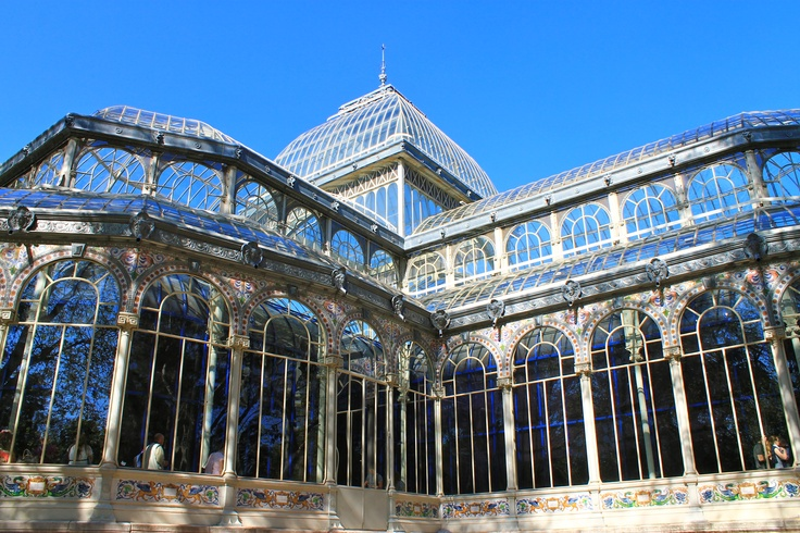 Parque del Retiro Glass Palace mixing with the sky from Madrid