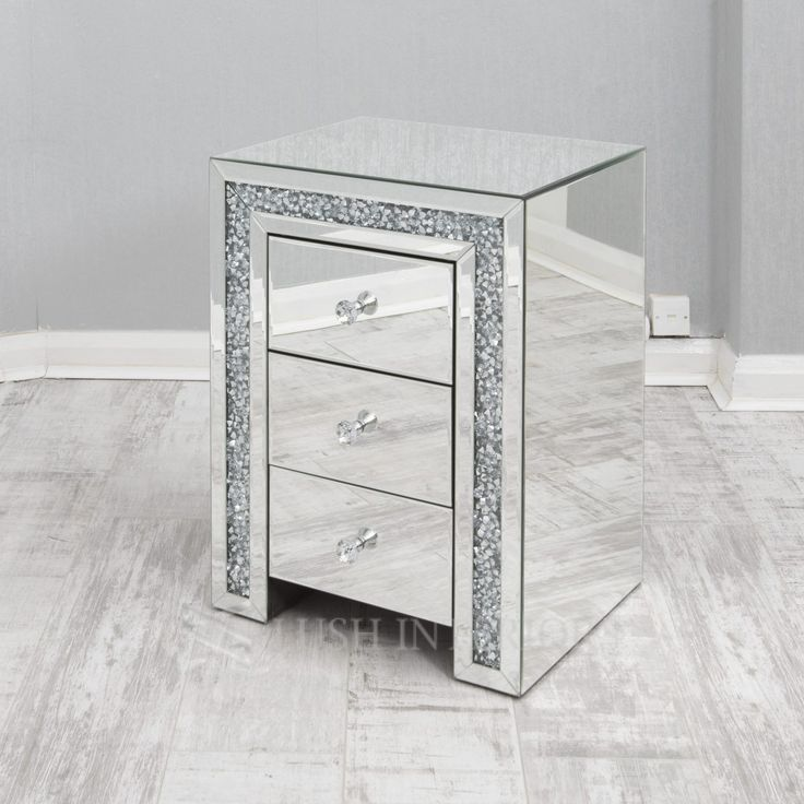 Mirrored Furniture Decor, 3 Drawer Mirrored Bedside Table Very