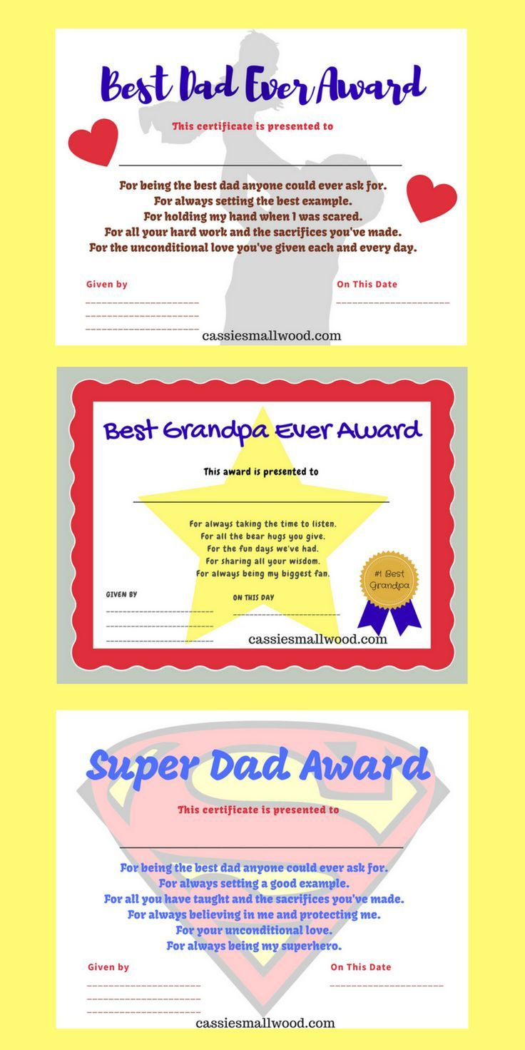 Printable Father S Day Certificates Of Appreciation Gifts For Dad Grandpa Cassie Smallwood Father S Day Printable Father S Day Diy Diy Father S Day Gifts Fathers day gift certificate template