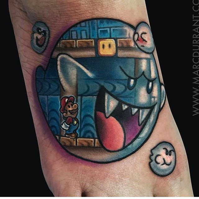 Amazing Mario Boo tattoo by @marcdurrant Thanks Marc! Great concept!!!