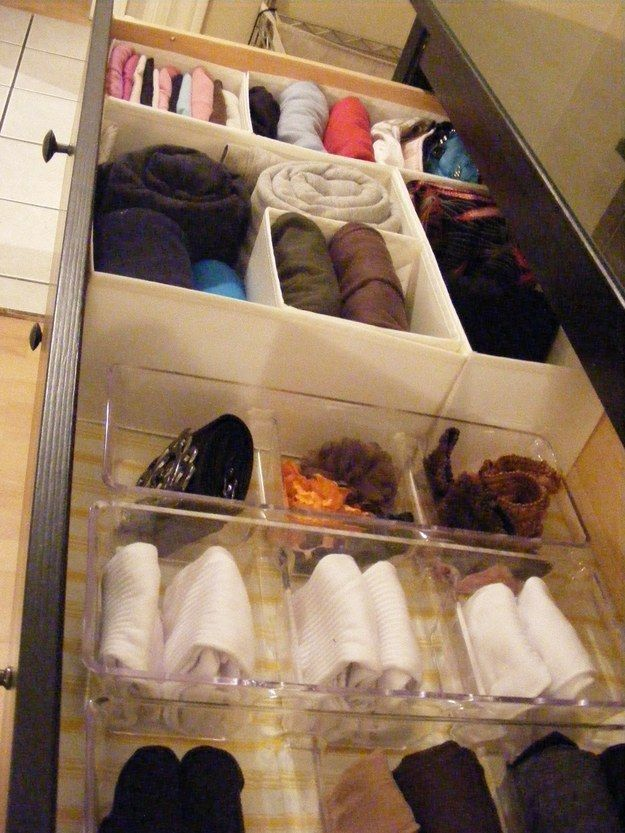 Condiment trays from the dollar store make great drawer dividers.
