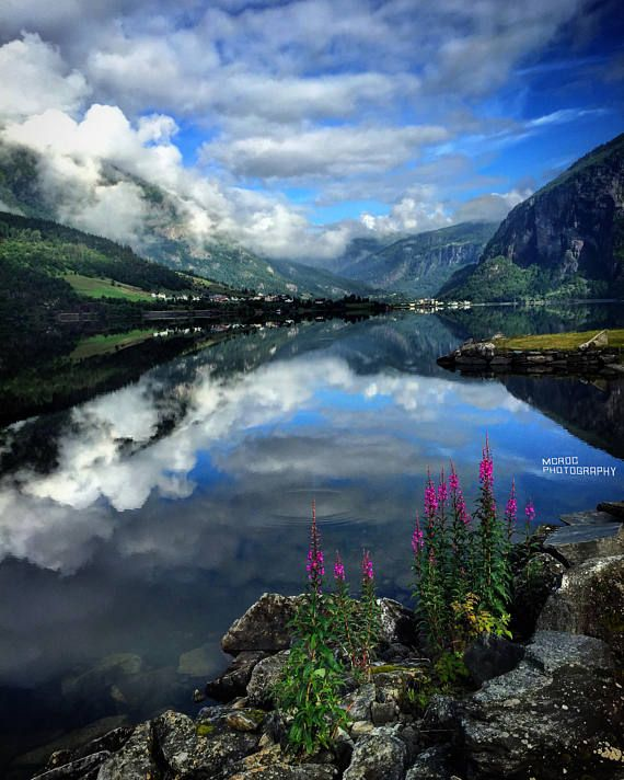 Reflection On Water Fine Art Blue Sky Summer Day Norway Landscape Nature Travel Ph Nature Photography Mountain Photography Fine Art Landscape Photography