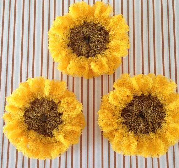 """Nylon Pot Scrubber- Sunflower Dish Scrubbers, Crocheted Scrubbies, 3 Sunflowers, Aprox 4 1/2"""" Dia., Great on Teflon & All-Clad Surfaces"""
