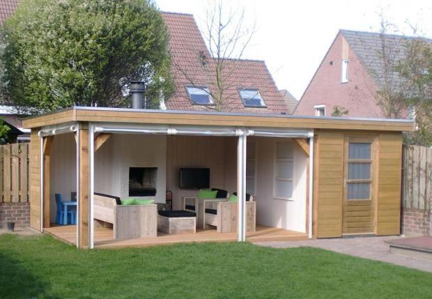 Tuinhuisjes met plat dak tuinhuisjescentrum van de munckhof zithoek tuin pinterest - Pergola dak platte ...