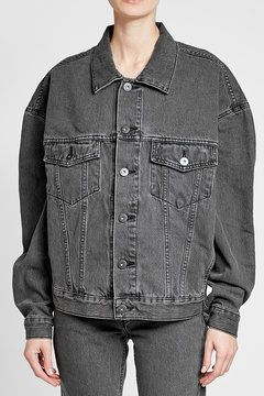 Denim Jacket | Cut with an oversized fit and a boxy nonchalance, this denim jacket from Yeezy's fifth season is the ultimate topper for season-to-season ease. The lived-in black finish will contrast against most pants - whether next to khaki leggings, indigo jeans or carbon leather leggings.