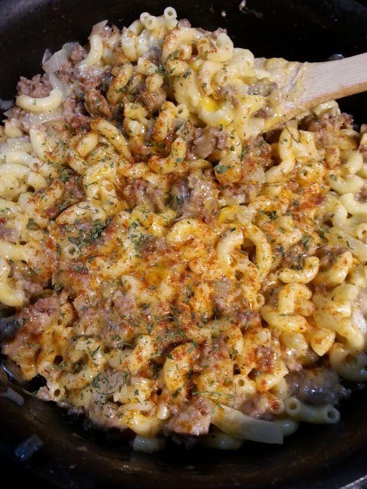 Cheesy Beer Brats & Pasta Skillet | Christine's Pantry