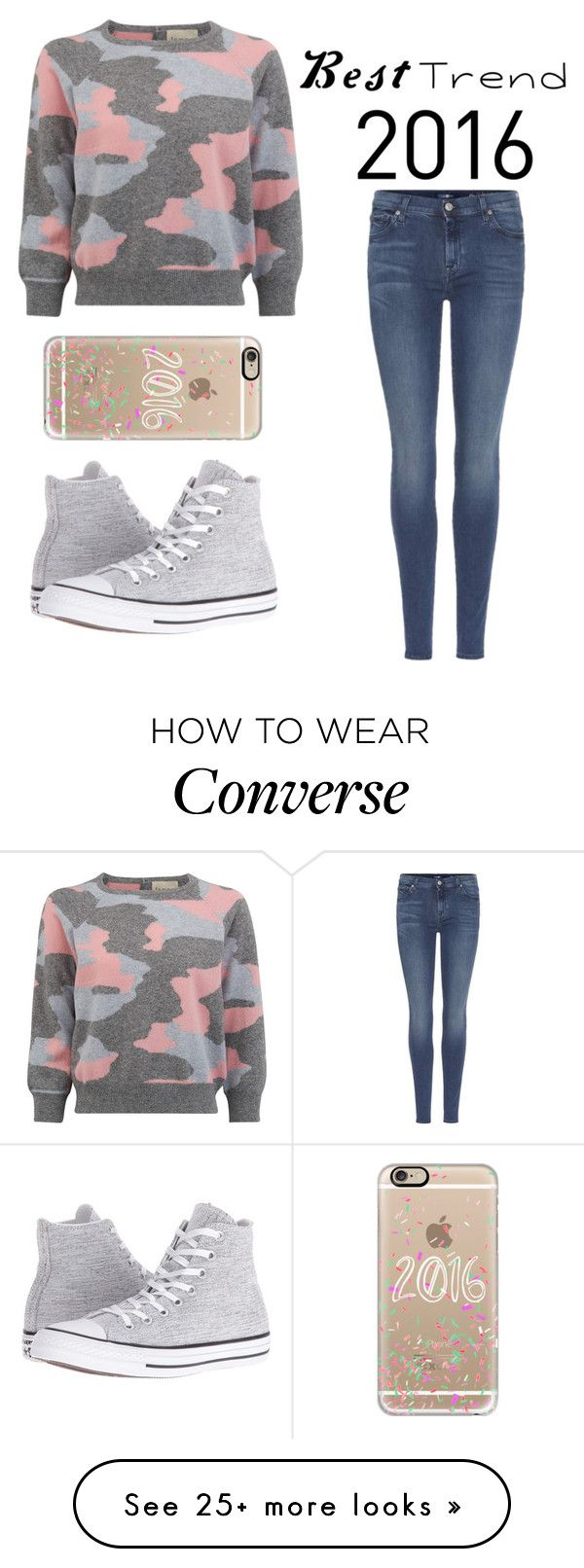 """Best trend 2016"" by sara-beatrice-lazar on Polyvore featuring 7 For All Mankind, Converse and Casetify"