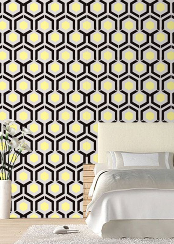 Self adhesive wallpaper , temporary wallpaper,removable wallpaper, geometric wallpaper , Peel and stick gold bedrooms on wall patterns.044
