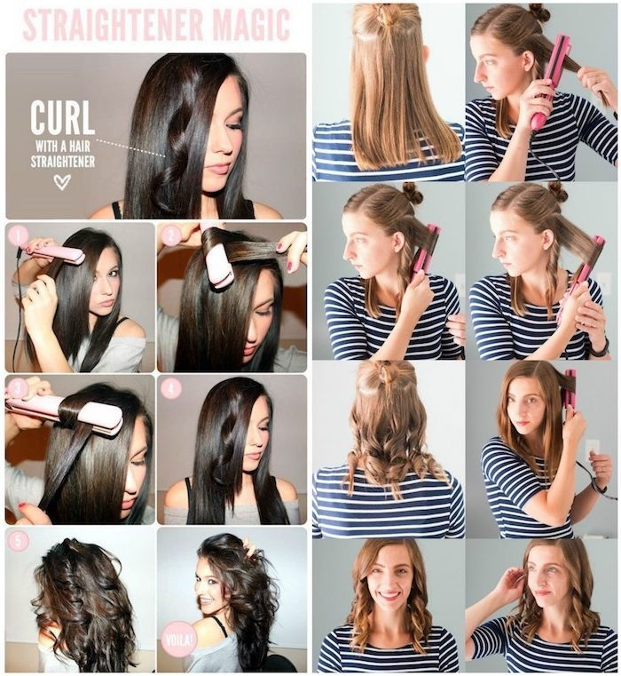Step By Step Guide To Curling With Curling Iron Straightening Iron Or Without Heat Includ Curling Iron Hairstyles Straightner Curls Curls With Straightener