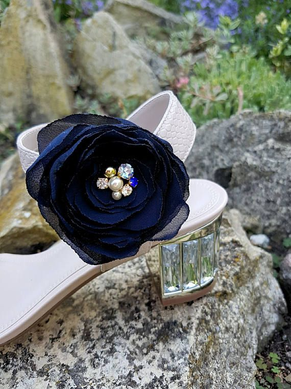 Navy crystal floral shoe clips Bridal rosal something blue