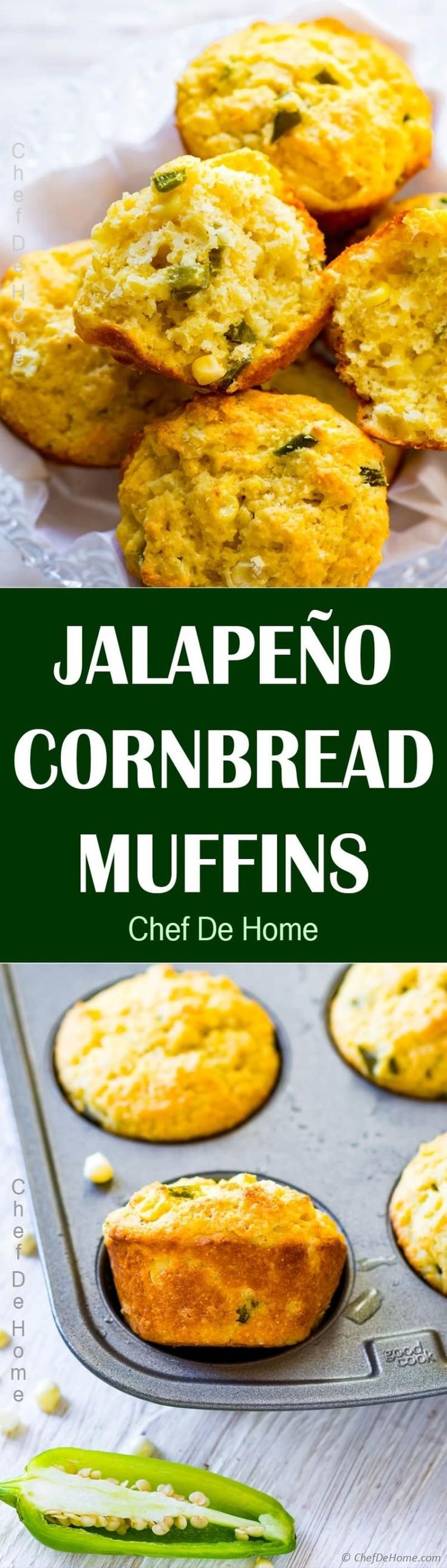 Jalapeno Cornbread Muffins - Moist Buttermilk Cornbread Muffins with corn and chopped jalapenos. Perfect to dunk in warm soup or serve with stew for dinner