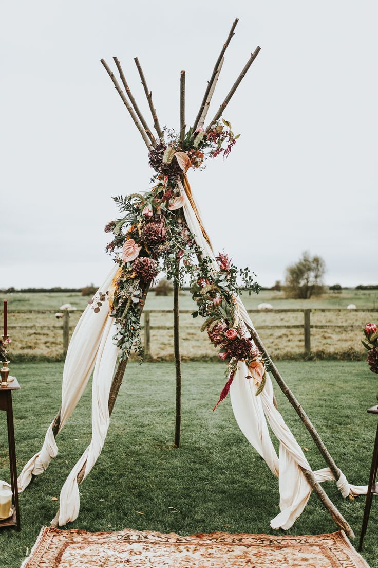 Naked Tipi Wedding Altar - Naked Tipi Wedding Inspiration At Godwick Barn With Styling by The Little Lending Co and Images by Darina Stoda Photography