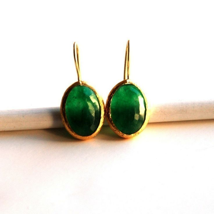 Green Oval Faceted Jade Earrings