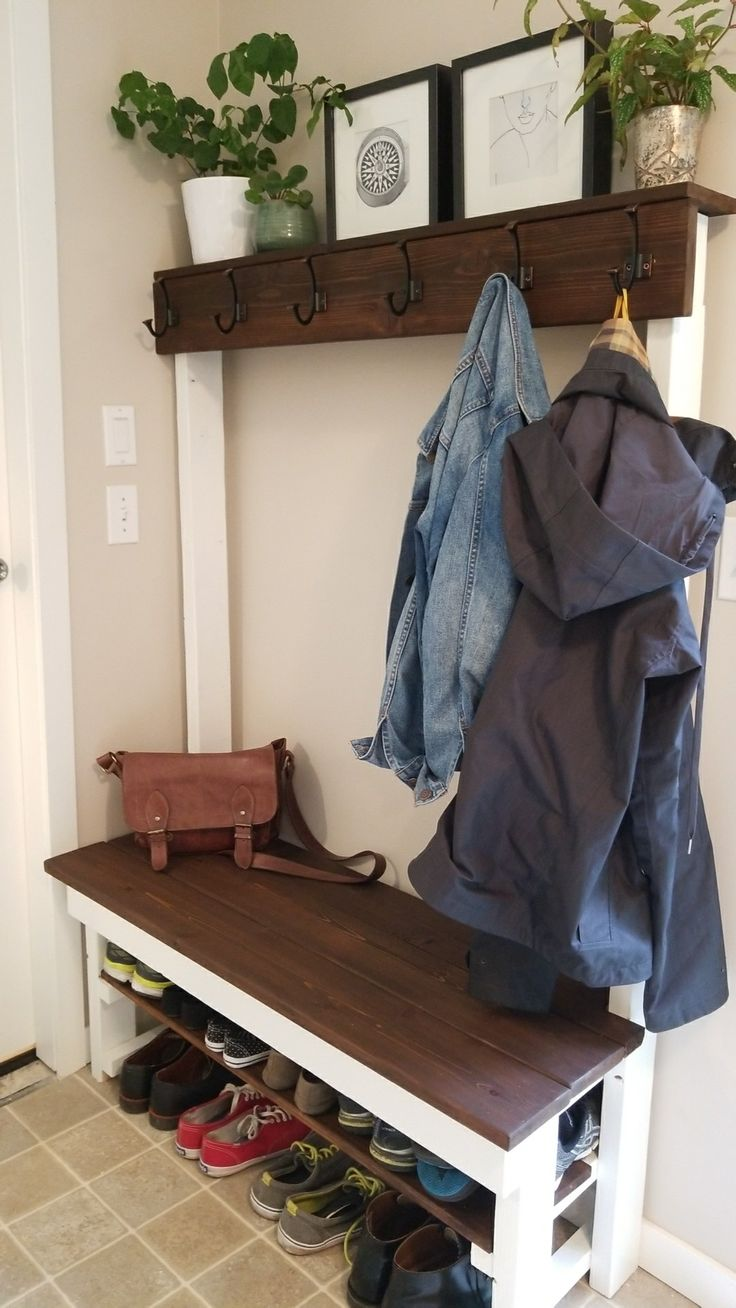 Entry Way Shoeshelf Coat Rack Bench Diy With Some 2x4 And