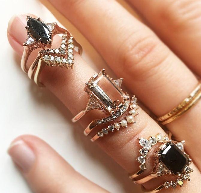 Anna Sheffield Morganite and Black Diamond Engagement Rings and Stacks.
