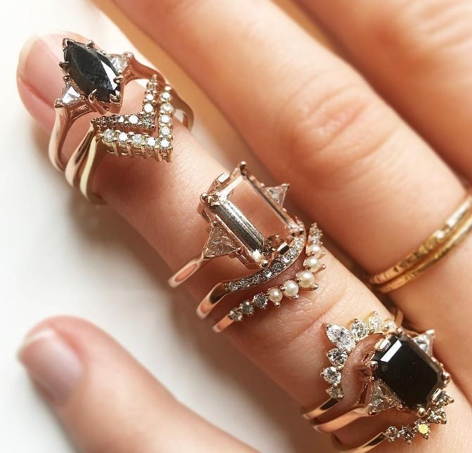 Anna Sheffield Morganite and Black Diamond Engagement Rings and Stacks.