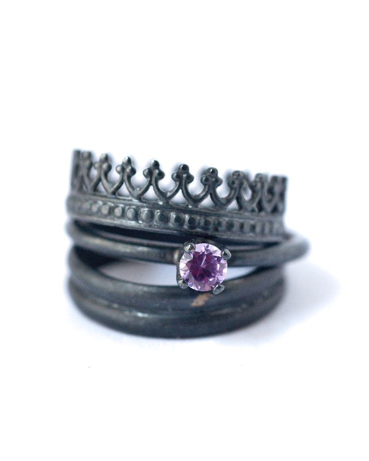 Birthstone Oxidized Silver Stacking Rings [Set-7]